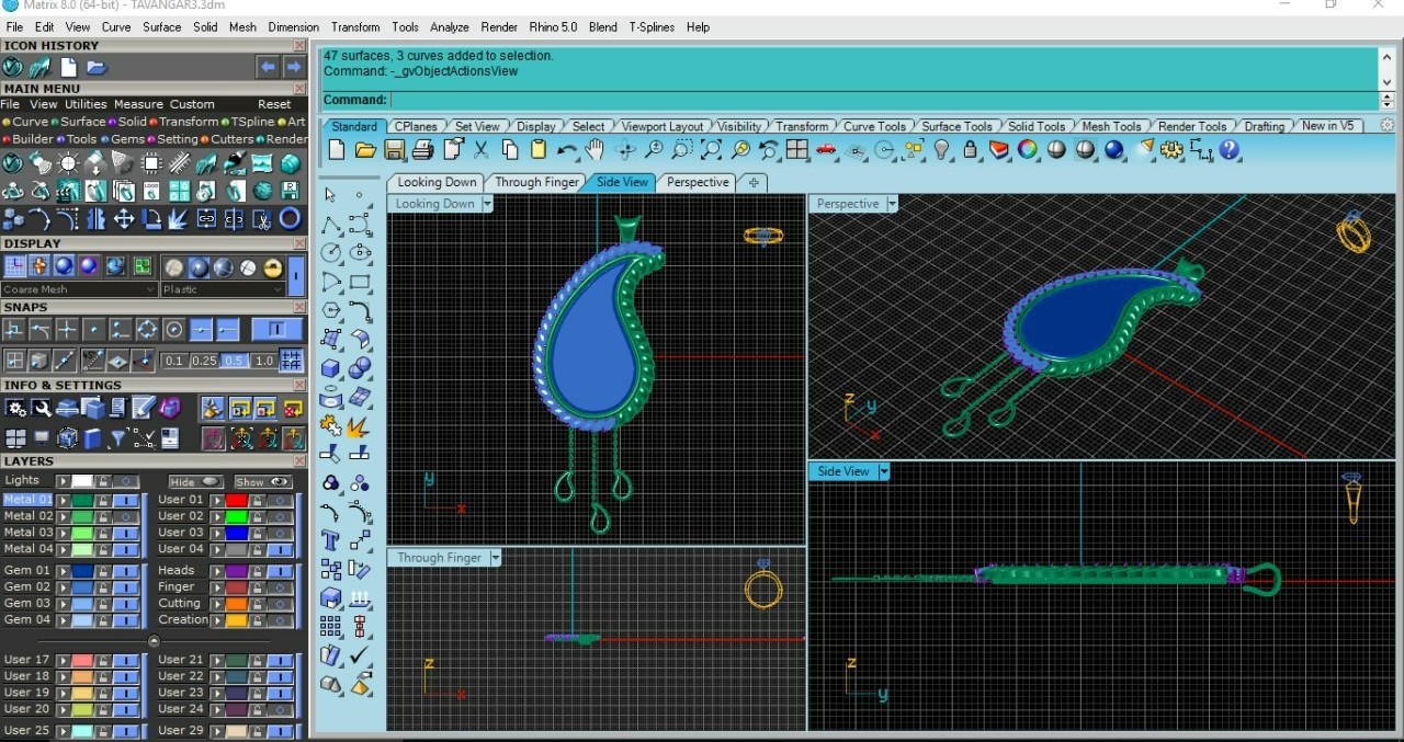 طراحی سه بعدی ازآویز بته جقه