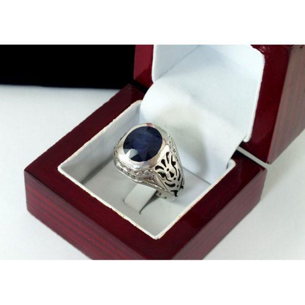 انگشتر مردانه جواهری با سنگ یاقوت کبود
