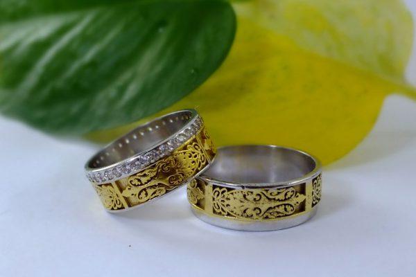 ست حلقه ازدواج طلا زرد و سفید