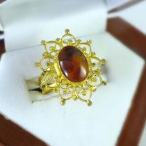 انگشتر طلای عقیق طرح خورشیدی
