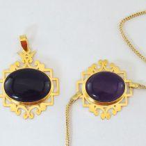 ست گردنبند و دستبند طلا آمیتیست طرح اسلیمی