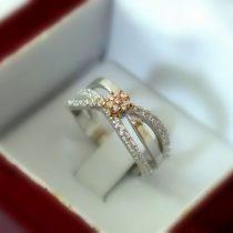 انگشتر نامزدی طلا سفید طرح گل