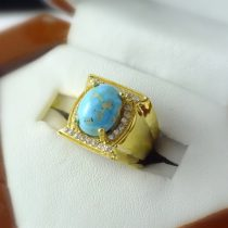 انگشتر طلای زنانه فیروزه طرح جواهری