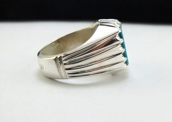 انگشتر نقره دست ساز مردانه فیروزه نیشابوری طرح خطی