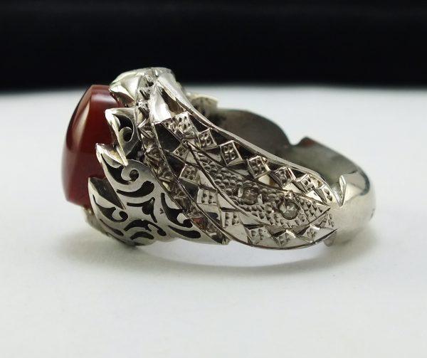 انگشتر نقره عقیق سرخ رکاب مخراج کاری دست ساز
