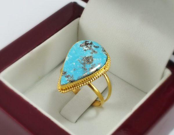 انگشتر طلای فیروزه (مدل اشکی)