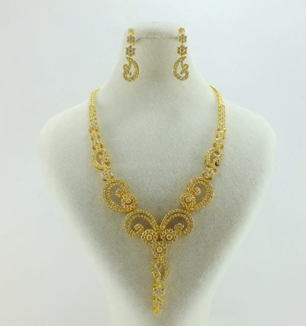 ست کامل طلا زرد زنانه طرح گل و بته