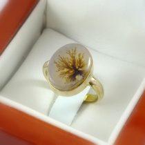 انگشتر طلا زنانه با نگین عقیق شجر رکاب ساده