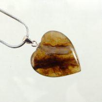 گردنبند سنگ عقیق عسلی قلبی با پاپیون نقره
