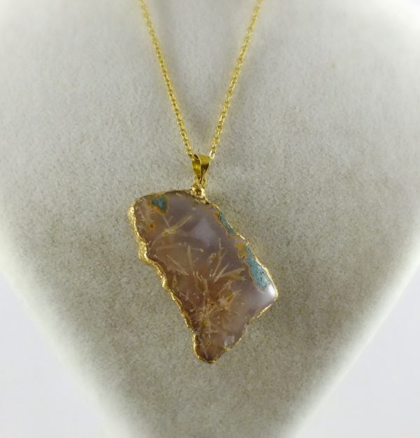 گردنبند سنگ راف عقیق روتایلی کد N524