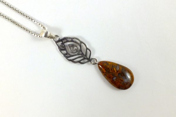گردنبند نقره با سنگ عقیق شجر طرح پاییزی