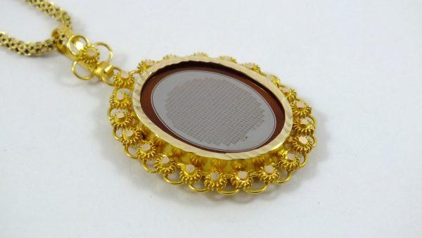 گردنبند طلا طرح خشخاشی عقیق یمنی یا حکاکی کل قرآن کریم
