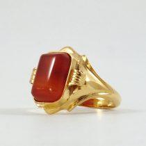 انگشتر طلا زنانه با سنگ عقیق یمنی طرح گالر
