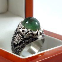 انگشتر دست ساز نقره مردانه با سنگ عقیق سبز اصل