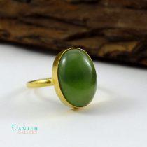 انگشتر طلا زنانه یشم رکاب ساده صفوی